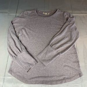 Pink rose grey soft long sleeve sweater Large